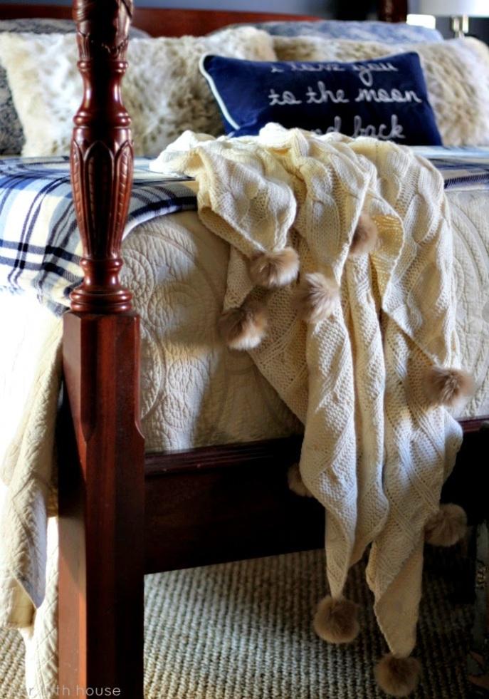 winter bedding updates - pom pom throw