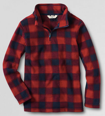 Kids buffalo check fleece pullover from Land's End