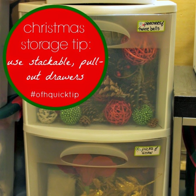 Christmas Storage Tip - Use stackable, pull-out drawers to make organizing simple and easy!