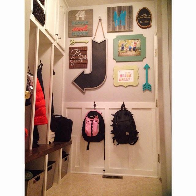Tip for simplifying your morning routine: Keep backpacks at child's height in a dedicated space. - from Beckie @infarrantlycreative