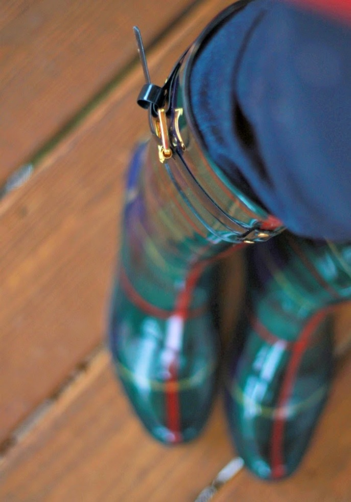 plaid rain boots