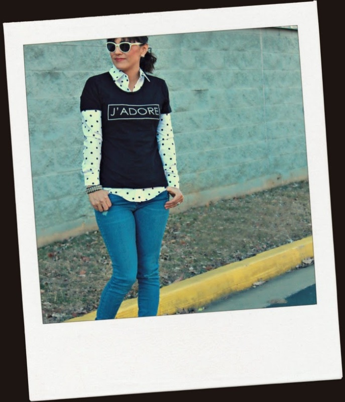 graphic tee + polka dot collared shirt