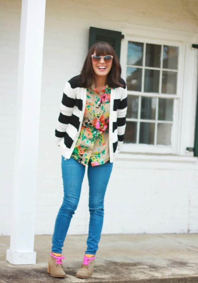 florals + bold stripes + bright details