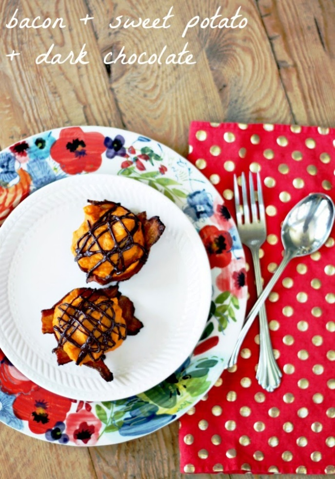 bacon + sweet potato + dark chocolate