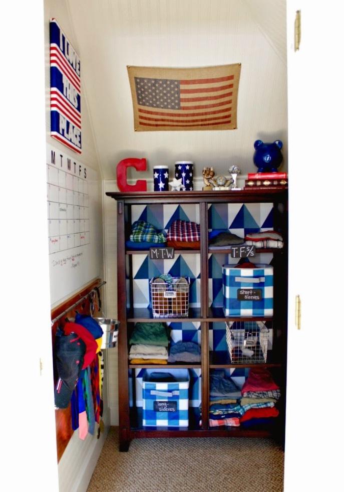organized boy's closet