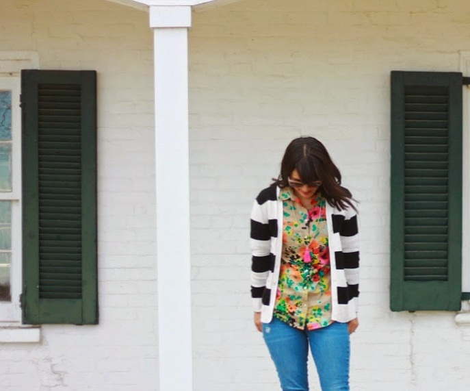 black and white stripes + bright floral