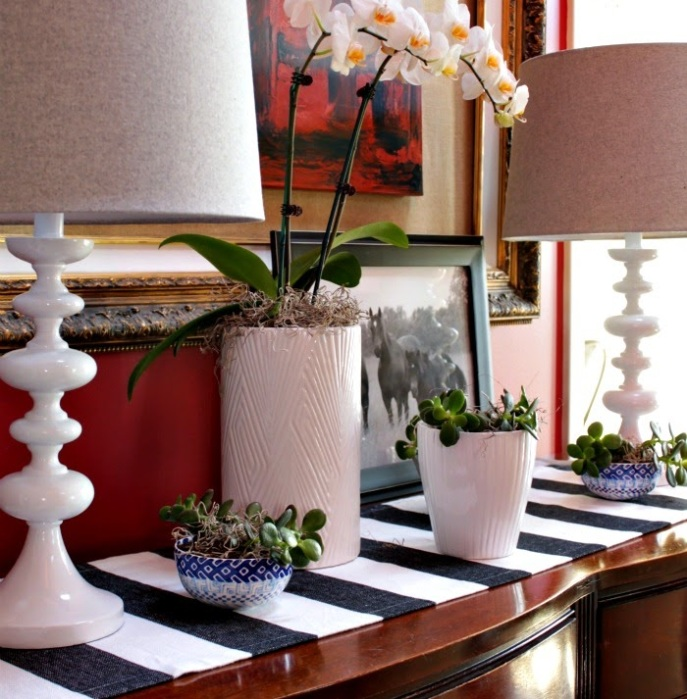 vignette styling ideas - bowls as planters
