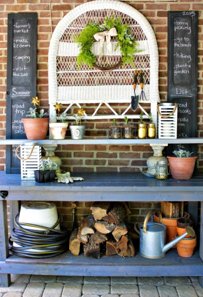 2015 summer list - chalkboard shutters - potting bench