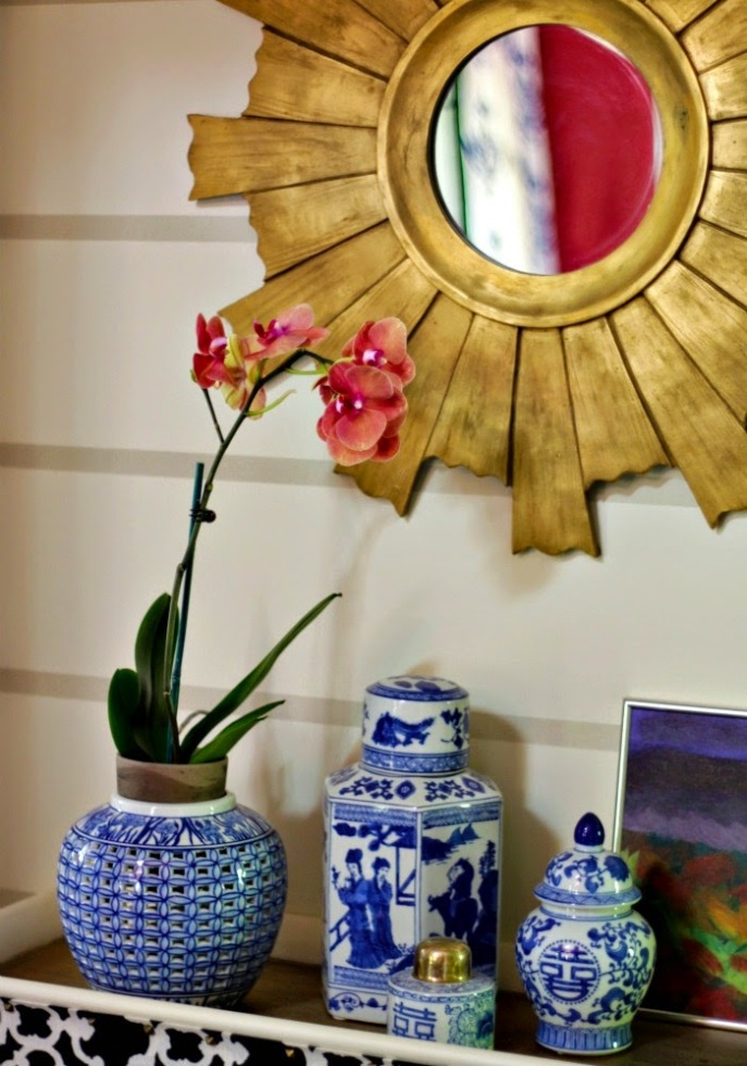 hallway console table vignette - diy striped wall