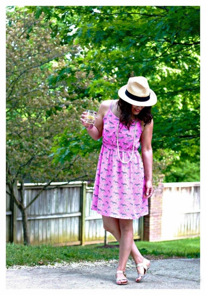 zebra print pink sundress