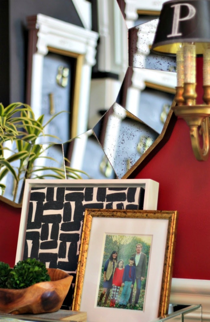 entry foyer styling + monogrammed sconces