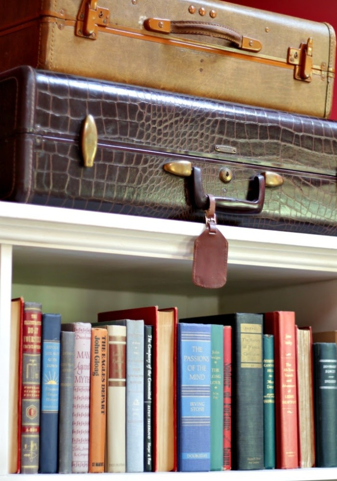 decorating with vintage books and suitcases