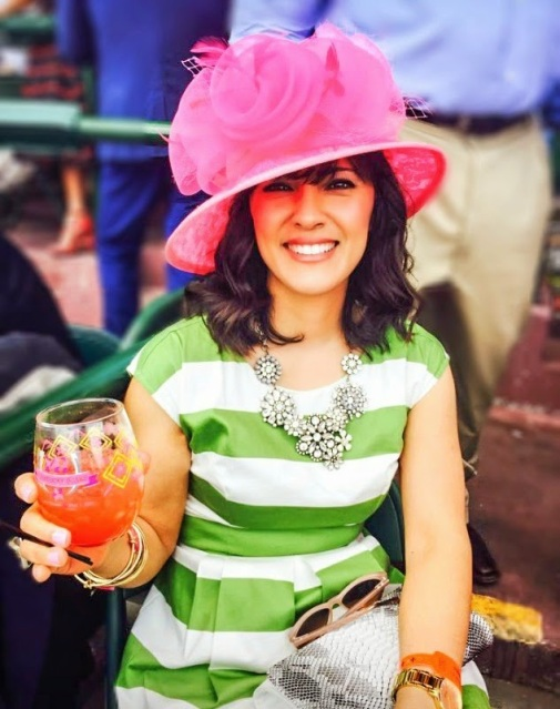 Kentucky Derby style - pink hat, green and white striped dress