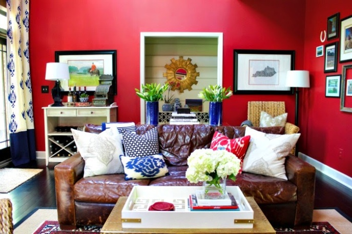 bold red walls in living room