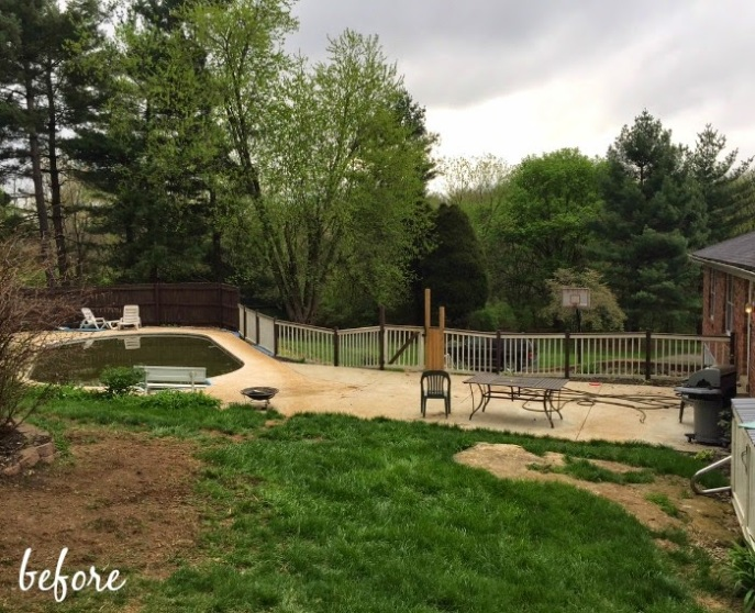 backyard makeover with Lowe's - before