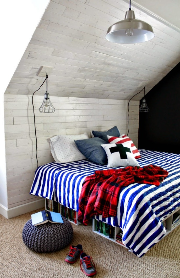 whitewashed wood wall in boy's bedroom