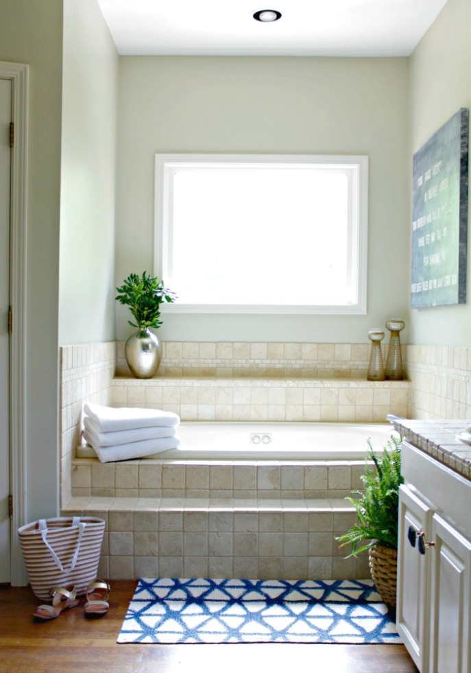 master bathroom - wall paint color - Martha Stewart Sandpiper