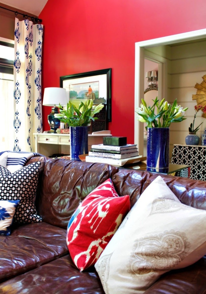 family room tour - bold colors and prints
