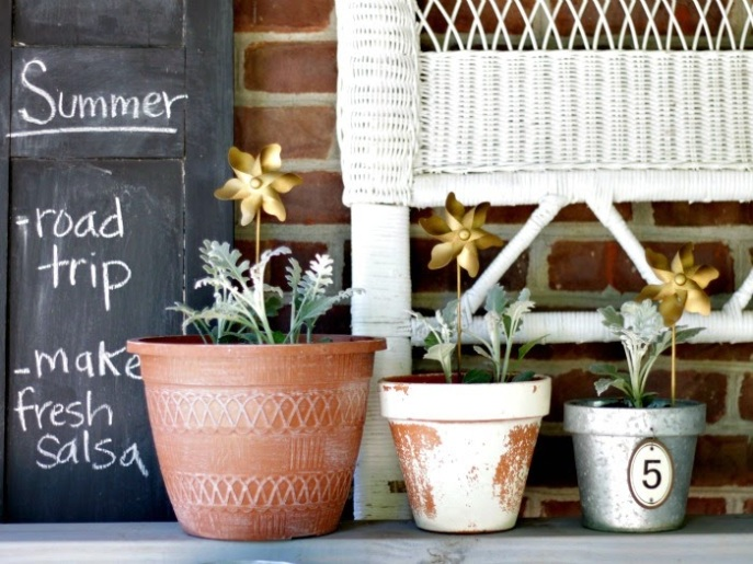 summer list - potting bench - gold outdoor accessories
