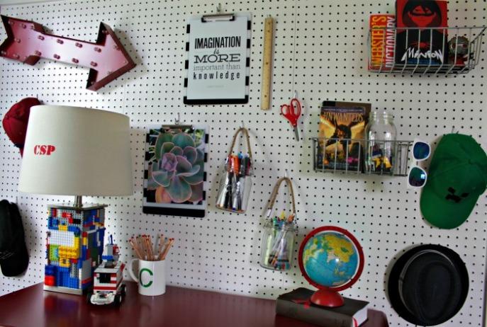 boys desk - pegboard organization