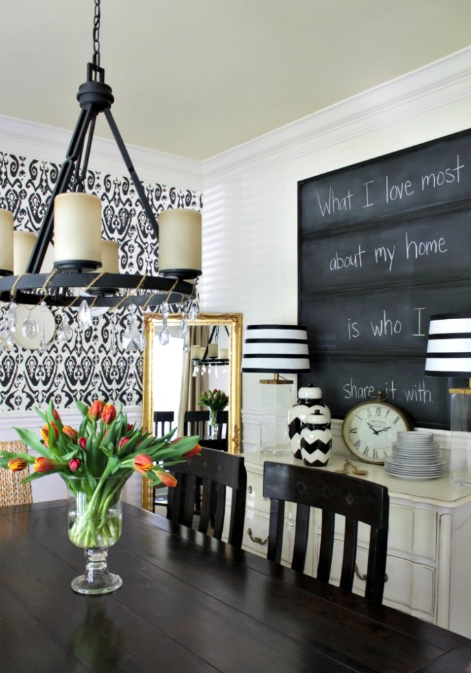 chalkboard panels created by spray painting closet mirrors with chalkboard paint