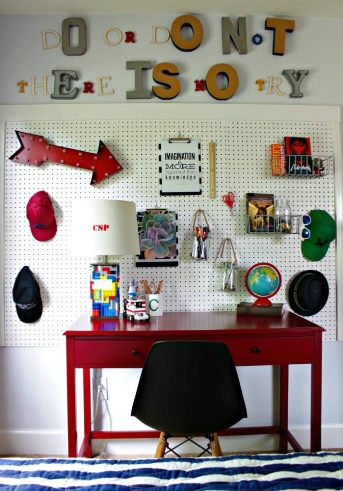 organized boys desk area