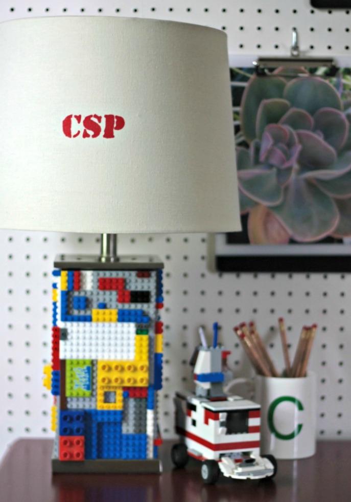 boys desk - lego lamp