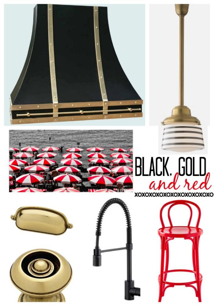 black, gold and red kitchen design plans