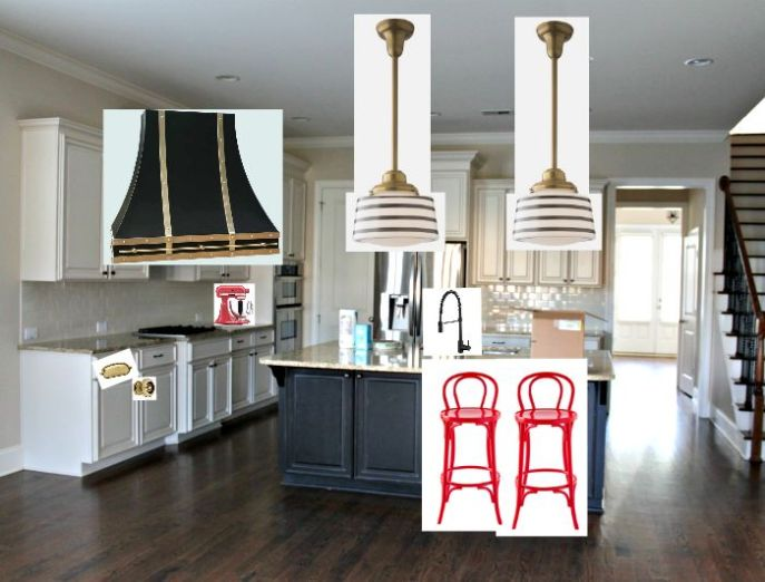 white cabinets, black island, gold harware, red barstools