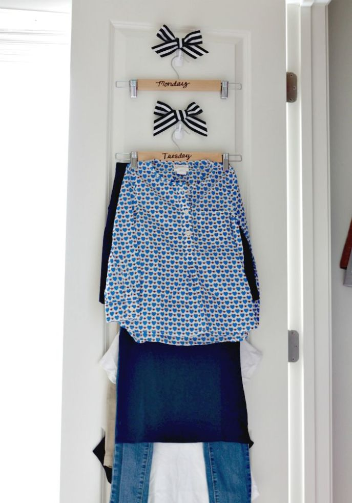 mom tip  - create a weekly wardrobe station in your kids closets to make morning routines run smoothly