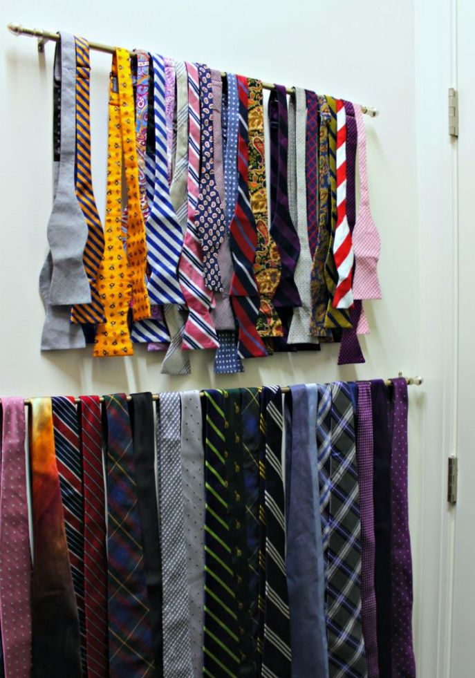 mens closet organization - use cafe rods for tie storage