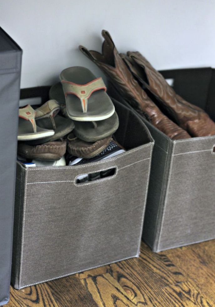 mens closet organization - canvas bins for casual footwear