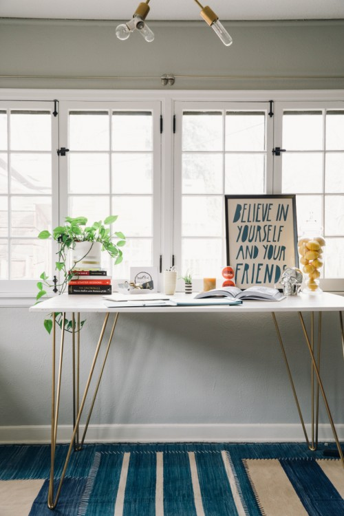hairpin desk - via design sponge