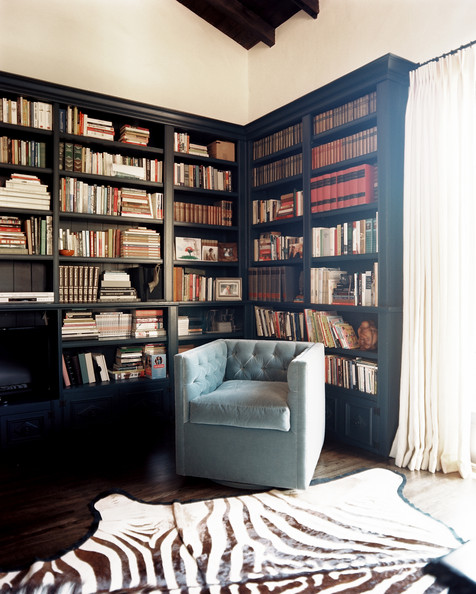black bookcases - everything just pops against a black background