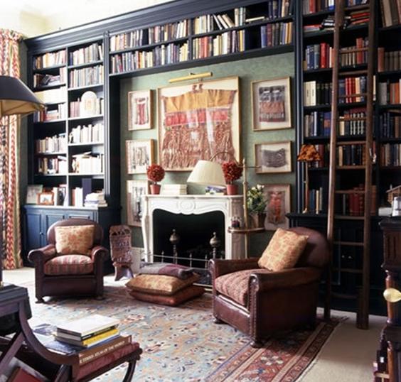 black bookcases - Todhunter Earle Interiors via Popsugar