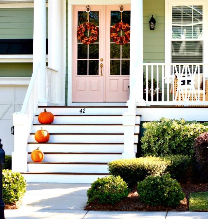 Rachel Pink by Sherwin Williams on the front door