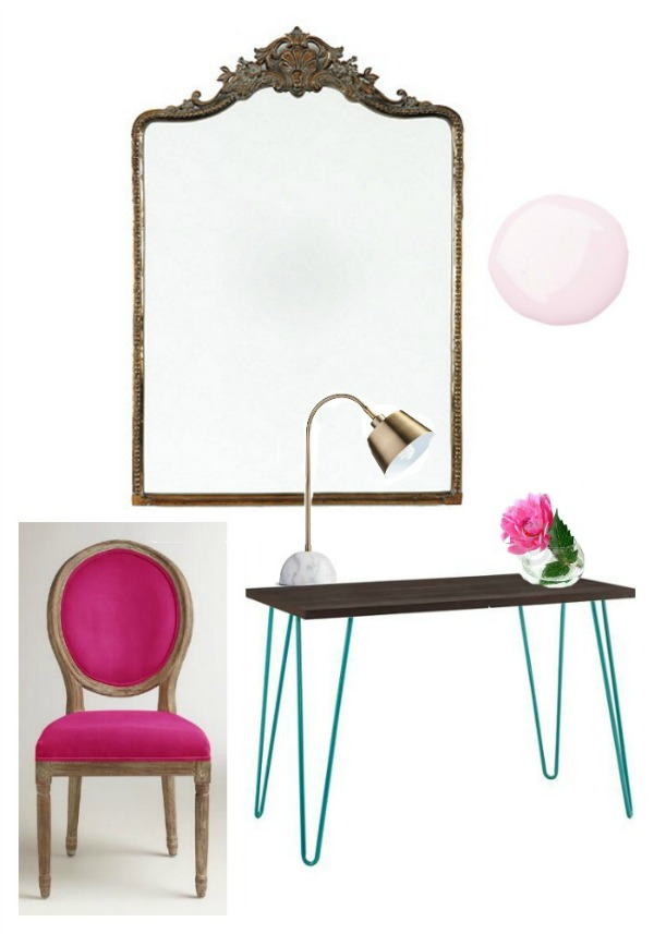 tween girls desk space - hairpin desk, louis chair,