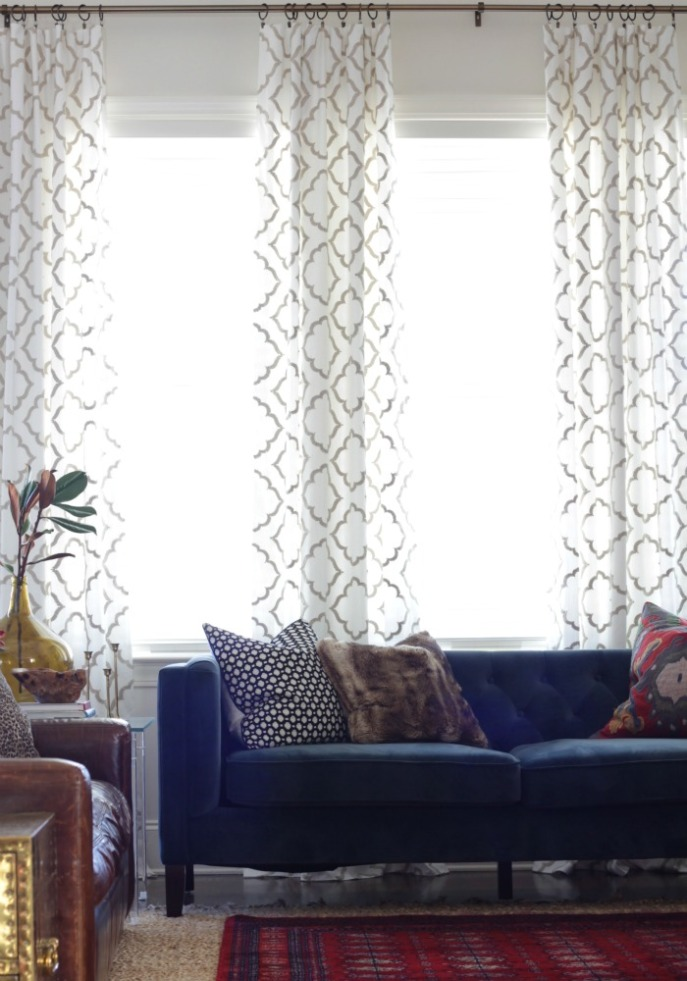 living room - no sew curtain panels - fabric sourced from Hobby Lobby