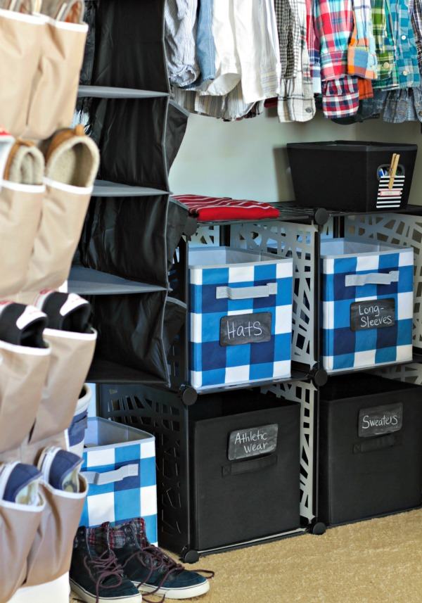 use labeled bins and baskets to store and organize