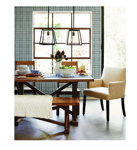 plaid wallpaper in a dining room