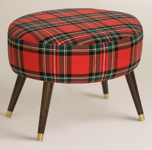 beautiful red plaid stool