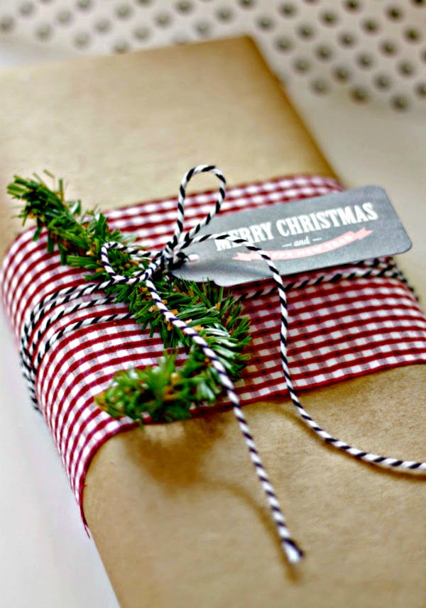 brown paper packages embellished with fabric scraps