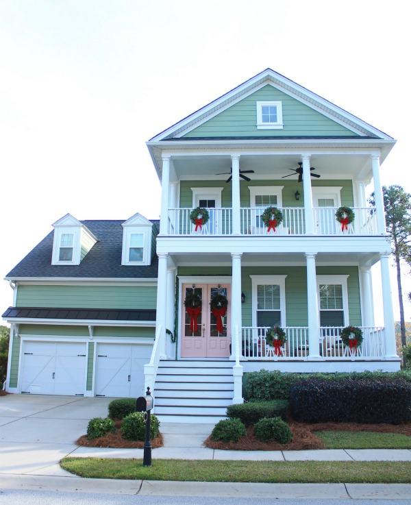 Charleston home - Christmas house tour - pink door