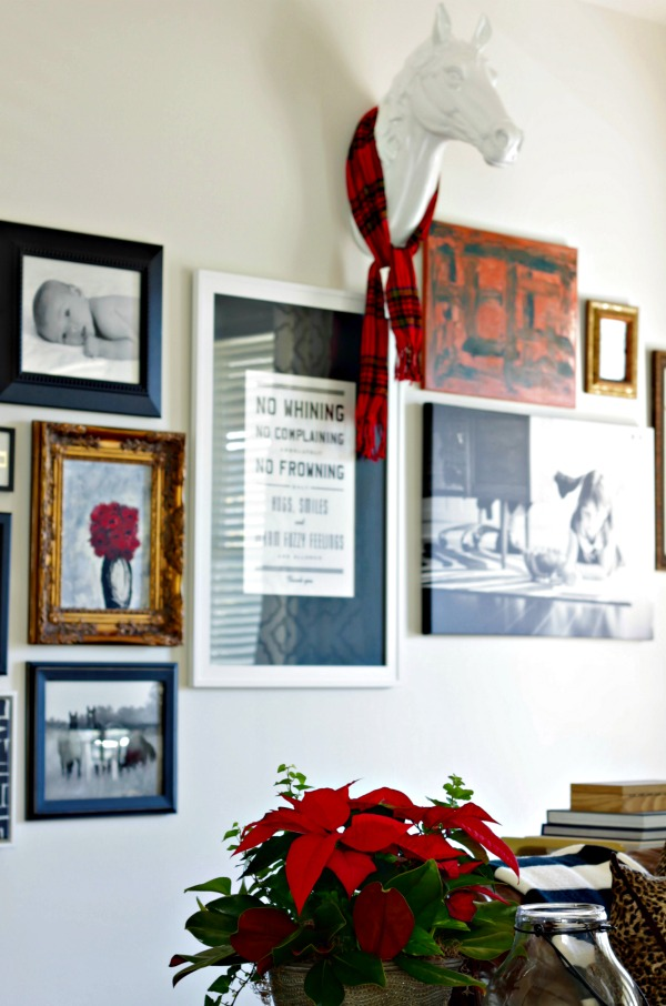 living room gallery wall - black & white with pops of red and gold