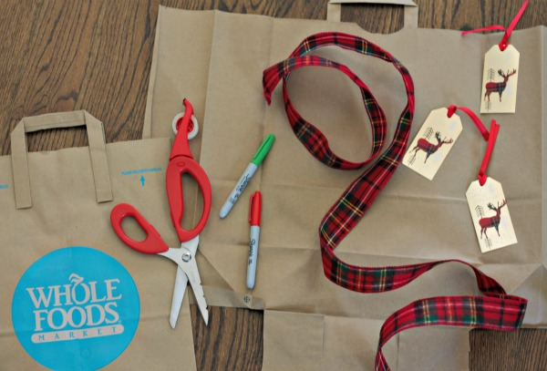 repurpose brown grocery paper bags to use as wrapping paper