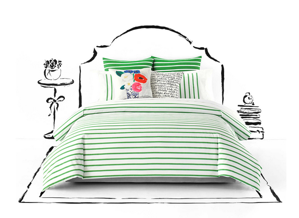 Kate Spade striped green and white bedding