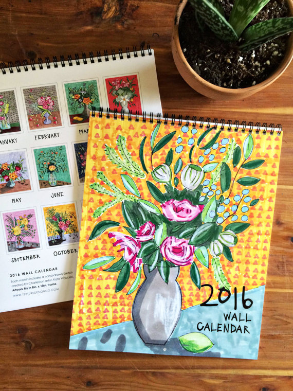 2016 Floral Sketched Art Calendar by Texture Design Co - Artwork by Kate Waddell