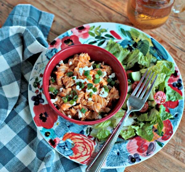 Gluten Free Buffalo Chicken Pasta - One Pot Recipe - 30 minute meal