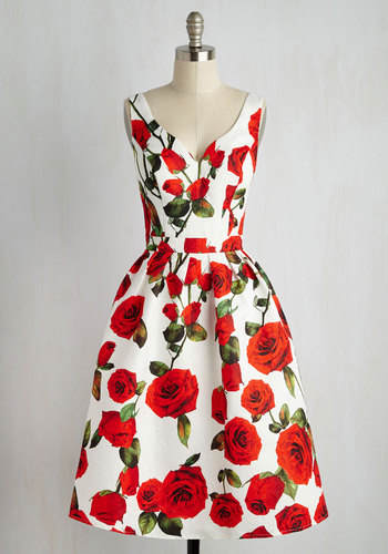 Retro Style Red Floral Dress