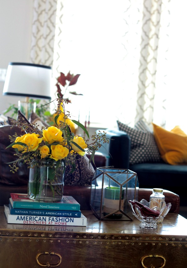 Style Files - the floral print - bringing in touches of spring - yellow roses - living room